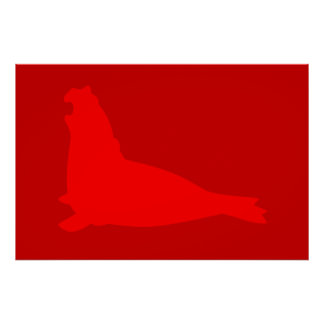 Elephant Seal Poster Red