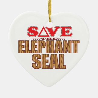 Elephant Seal Save Ceramic Heart Decoration