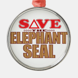 Elephant Seal Save Silver-Colored Round Decoration