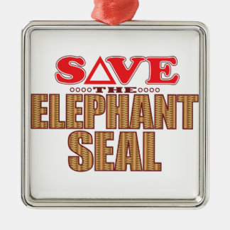 Elephant Seal Save Silver-Colored Square Decoration