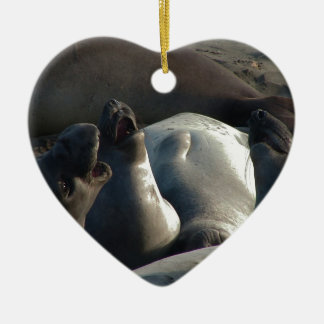 Elephant seals barking ceramic heart decoration