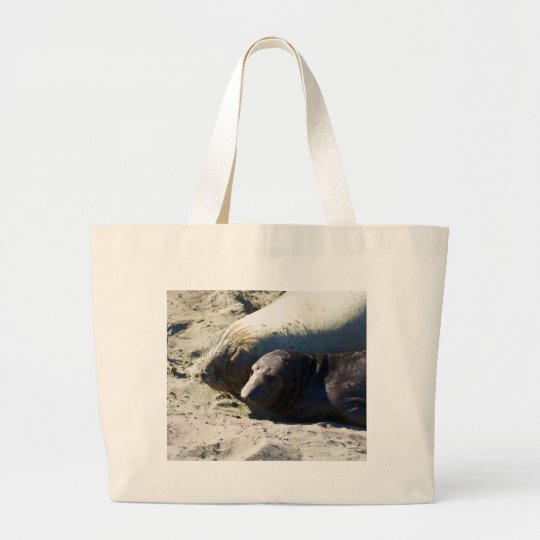 Elephant Seals Large Tote Bag