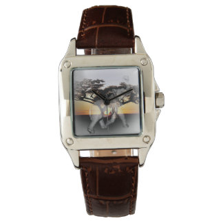 Elephant Shadow Dance Ladies Brown Leather Watch
