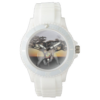 Elephant Shadow Dance Ladies White Sports Watch