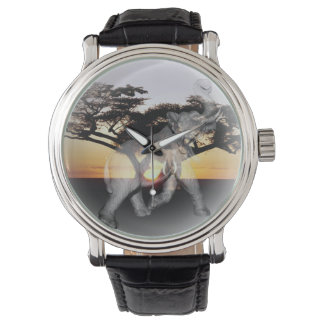 Elephant Shadow Dance, Mens Leather Watch