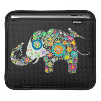 Elephant Shape Colorful Retro Flowers iPad Sleeve