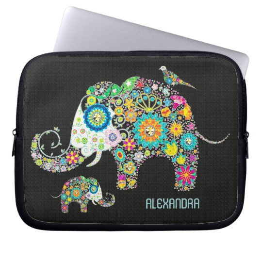 Elephant Shape Colourful Retro Flowers Laptop Sleeve