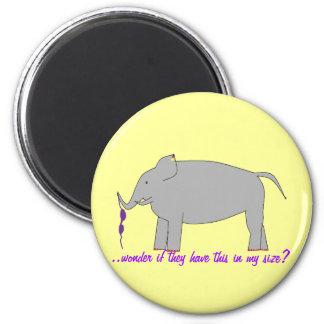 Elephant shopping 6 cm round magnet