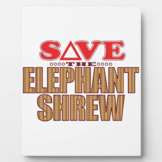 Elephant Shrew Save Plaque