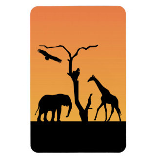 Elephant silhouette african sunset magnet