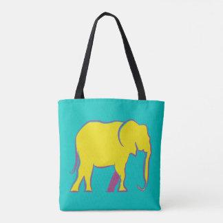 Elephant Silhouette Colorful Bold Minimal Vibrant Tote Bag