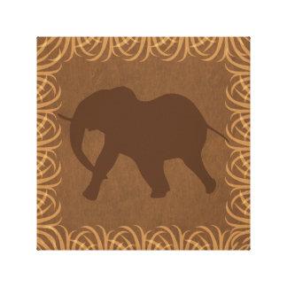 Elephant Silhouette | Facing Left | Safari Theme Stretched Canvas Print