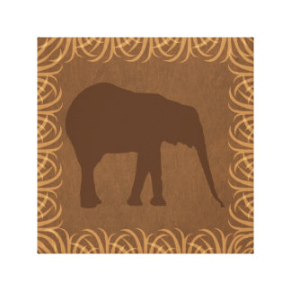 Elephant Silhouette | Facing Right | Safari Theme Stretched Canvas Print