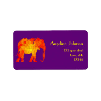 Elephant Silhouette Mosaic Orange Bright Vibrant Label