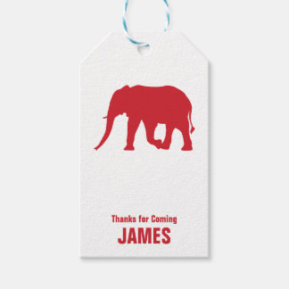 Elephant Silhouette Safari Birthday Gift Tag