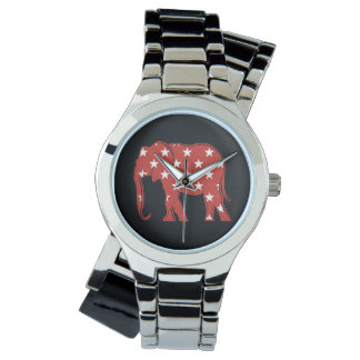 Elephant Silhouette Stars Pattern Red Cool Modern Watch