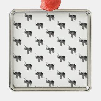 Elephant Silver-Colored Square Decoration