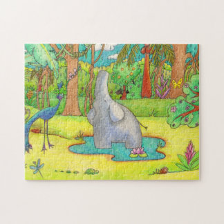 Elephant Singing in the Rain Cartoon Puzzle