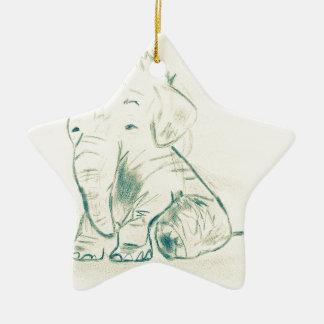 Elephant sketch christmas ornament