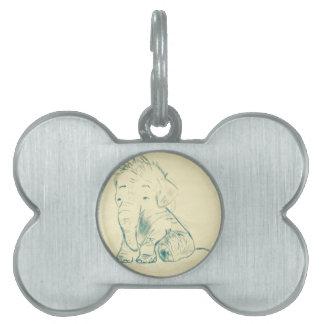 Elephant sketch pet name tag