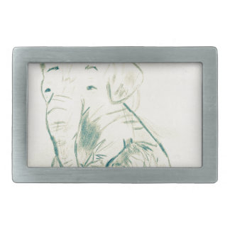 Elephant sketch rectangular belt buckles