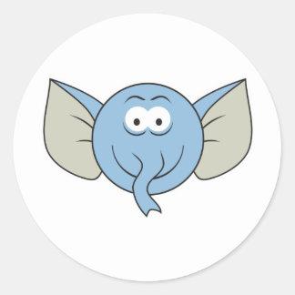 Elephant  Smiley Face Round Sticker
