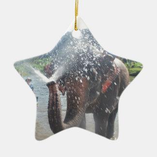 Elephant spraying water christmas ornament