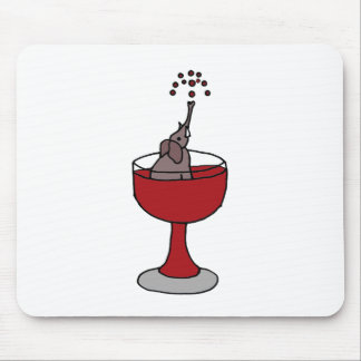 Elephant Spraying Wine Sitting in Wine Glass Mouse Mat