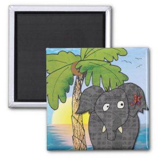 elephant square magnet