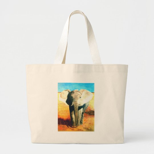 Elephant Standing Guard Large Tote Bag