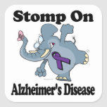 Elephant Stomp On Alzheimers Disease Square Stickers