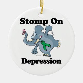 Elephant Stomp On Depression Round Ceramic Decoration