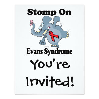 Elephant Stomp On Evans Syndrome 4.25x5.5 Paper Invitation Card