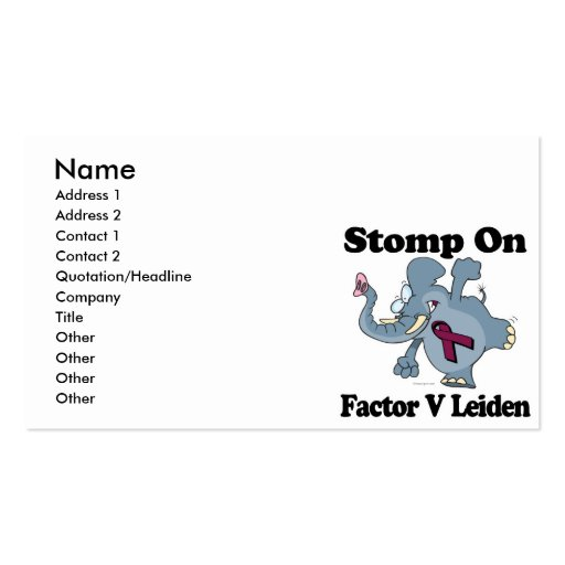 Elephant Stomp On Factor V Leiden Business Card Template