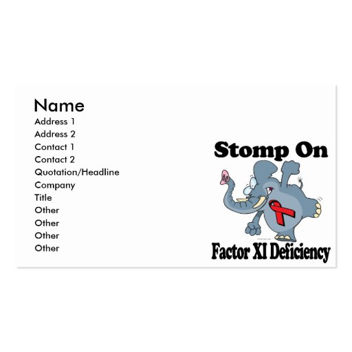 Elephant Stomp On Factor XI Deficiency Business Card