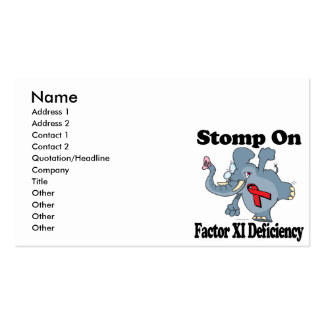 Elephant Stomp On Factor XI Deficiency Pack Of Standard Business Cards
