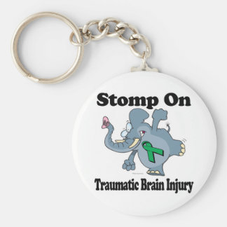 Elephant Stomp On Traumatic Brain Injury Basic Round Button Key Ring