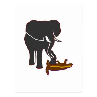 Elephant Stomps Honey Badger Postcard
