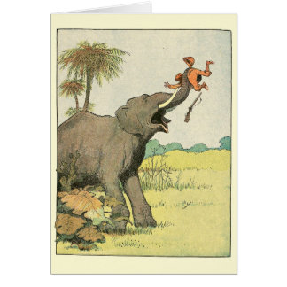 Elephant Story Book Drawing Greeting Card