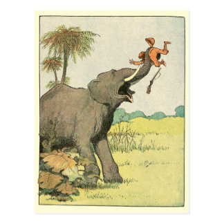 Elephant Story Book Drawing Postcard