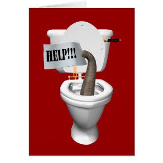 Elephant Stuck In Toilet Card