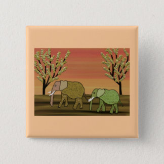 Elephant Sunset 15 Cm Square Badge