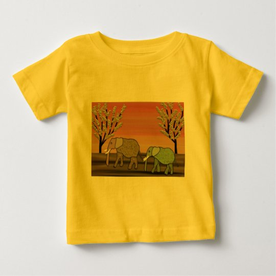 Elephant Sunset Baby T-Shirt