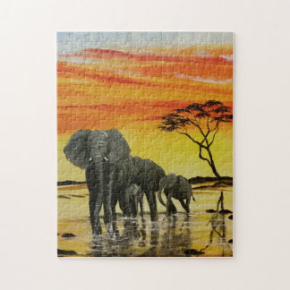 elephant sunset jigsaw puzzle