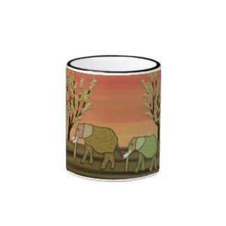 Elephant Sunset Ringer Mug