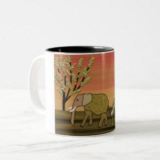 Elephant Sunset Two-Tone Coffee Mug