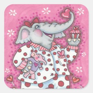 Elephant Sweetheart VALENTINE STICKERS Sheet Squ.