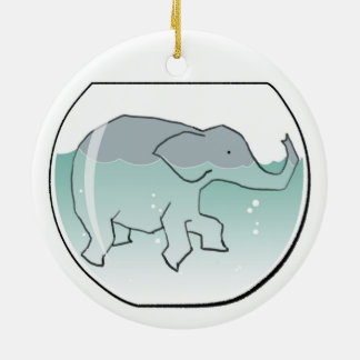 Elephant Swimming around in Goldfish Bowl Round Ceramic Decoration