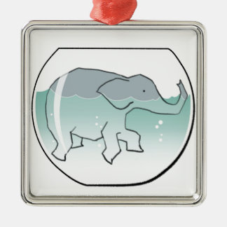 Elephant Swimming around in Goldfish Bowl Silver-Colored Square Decoration