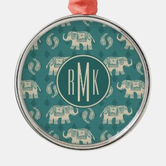 Elephant Teal Caravan Pattern Christmas Ornament